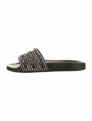 Chanel Interlocking CC Logo Leather Slides Black