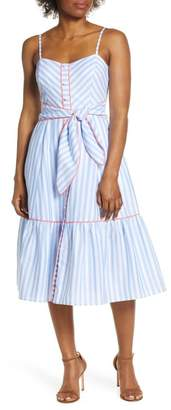 Eliza J Stripe Piped Cotton Sundress