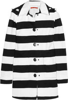 Constance hooded striped stretch-cotton coat