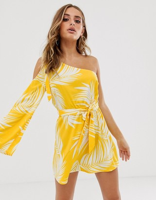 ASOS DESIGN one shoulder beach cover up with bunny tie in yellow palm outline print