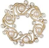 Anne Klein Gold Tone Wreath White Faux Pearls Brooch Set