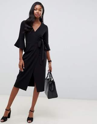 Asos Design DESIGN midi wrap dress with flutter sleeve-Black