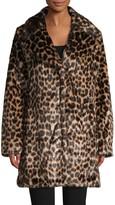 AVEC LES FILLES Leopard-Print Faux Fur Coat