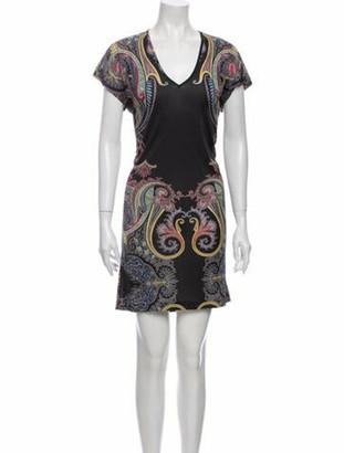Etro Paisley Print Mini Dress Black