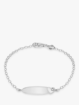 IBB Personalised Sterling Silver Children's ID and Cubic Zirconia Heart Bracelet, Silver