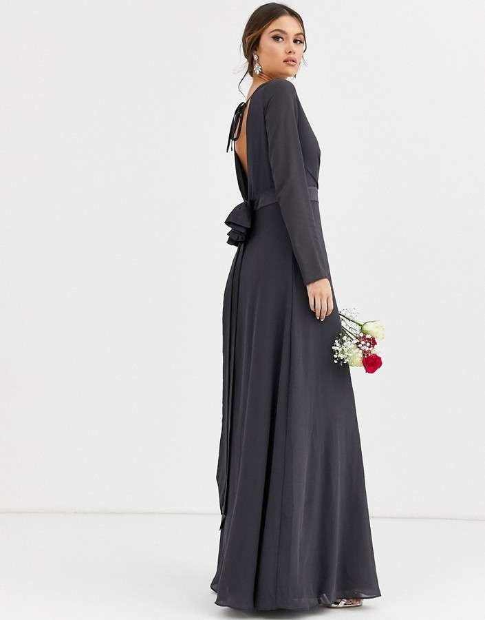 Thumbnail for your product : TFNC Bridesmaid long sleeve maxi dress with satin bow back in grey
