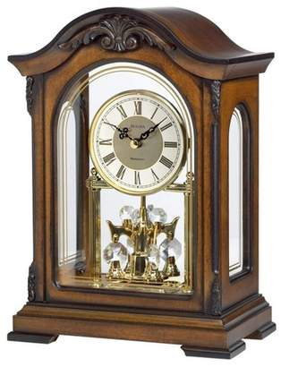 Bulova Clocks B1845 Durant Walnut Wood and Glass Revolving Pendulum Clock, Brown