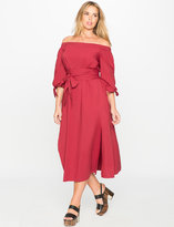 ELOQUII Plus Size Studio Off the Shoulder Poplin Dress