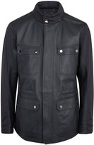 Pal Zileri Navy Leather And Shell Field Jacket
