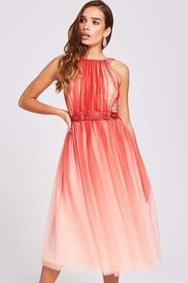 Little Mistress Carissa Grapefruit Floral Belt Midi Dress