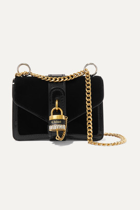 Chloé Aby Chain Mini Patent Leather-trimmed Velvet Shoulder Bag - Black