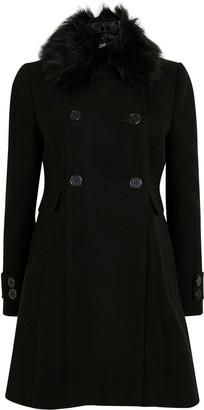 Wallis PETITE Black Faux Fur Collar Coat