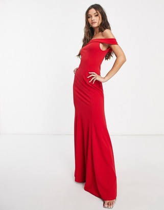 Club L London Club L bandeau fishtail maxi dress in red