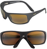 Maui Jim Men's 'Peahi - Polarizedplus2' 65Mm Sunglasses - Matte Black