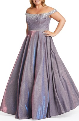 Mac Duggal Off the Shoulder Glitter Ballgown