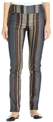 Lisette L Montreal Algarve Stripe Print Slim Pants (Brown) Women's Casual Pants
