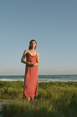 Anthropologie Printed Bias Slip Dress By in Blue Size XL