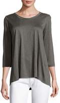 St. John Beaded-Trim Jersey 3/4-Sleeve Tee, Gray