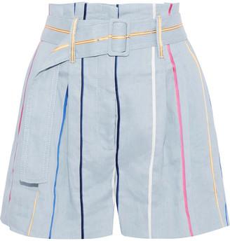 Derek Lam 10 Crosby Belted Striped Linen-blend Shorts