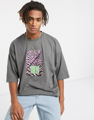 Asos DESIGN oversized t-shirt with cherry blossom and text photographic print in washed gray
