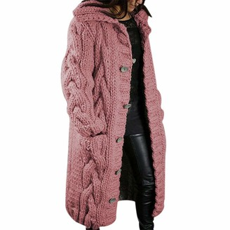 Loozykit Womens Open Front Long Cardigans Loose Cable Knit Kimono Chunky Sweater Oversized Knitwear with Pockets