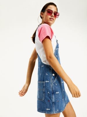 Tommy Hilfiger Recycled Denim Embroidery Dungaree Dress