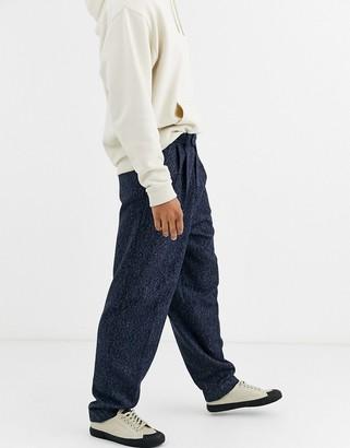 ASOS DESIGN high waist wide leg smart trousers in blue wool mix