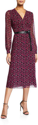 MICHAEL Michael Kors Multi Map Long-Sleeve Belted Shirtdress