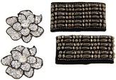 Foot Petals Glitz Clipz Studded Bow/Rhinestone Flower (Metallic) - Footwear
