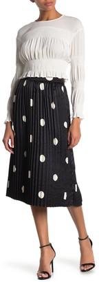 Pleione Pleated Polka Dot Midi Skirt