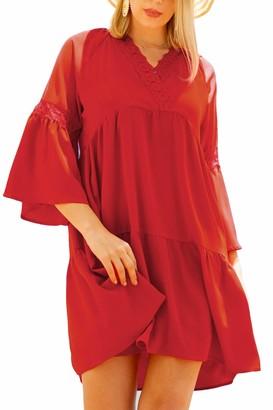 Liumilac Women Black Swing Shift Bell Sleeve Tunic Dress Loose Casual Vneck Elegant Dress