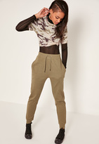 Missguided Khaki Ribbed Tie Front Joggers