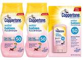 Coppertone WaterBABIES Sunscreen Mineral Based Lotion SPF 50, 6 Fluid Ounce Pack of 2 + Stick .5 Ounces