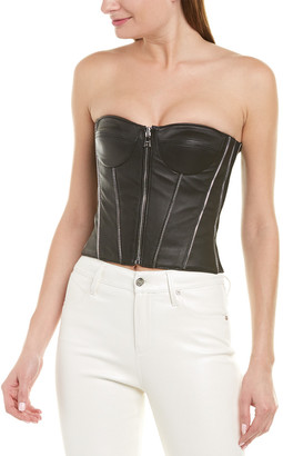 RtA Victoria Leather Bustier Top