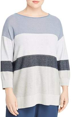 Lafayette 148 New York Plus Chain-Embellished Color-Block Sweater