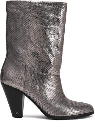 MICHAEL Michael Kors Divia Metallic Snake-effect Leather Ankle Boots