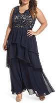 Eliza J Plus Size Women's Lace & Tiered Chiffon Gown
