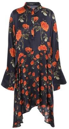 Mother of Pearl April Asymmetric Floral-print Satin Mini Shirt Dress