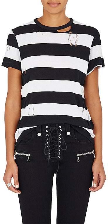 Amiri Women's Striped Cotton-Cashmere Distressed T-Shirt