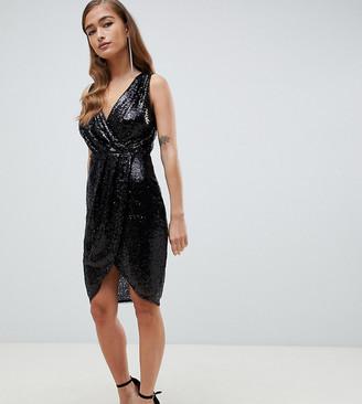 TFNC Petite sequin wrap mini dress in black