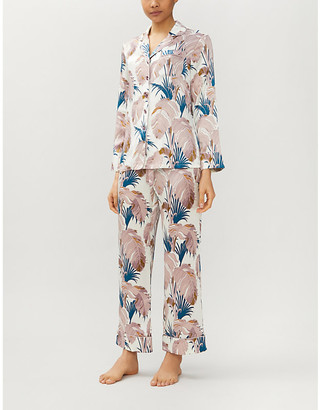 Olivia von Halle Lila Pandora feather-print silk-satin pyjama set