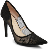Jessica Simpson Black Camba Lace Pointed Toe Pumps