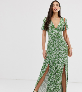 Asos Tall DESIGN Tall button through maxi tea dress with splits in ditsy print-Green