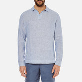 Orlebar Brown Men's Long Sleeve Seersucker Shirt Navy