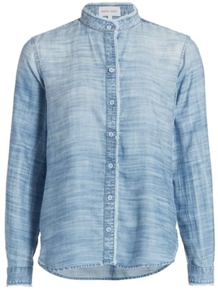 Bella Dahl Mandarin Collar Distressed Shirt
