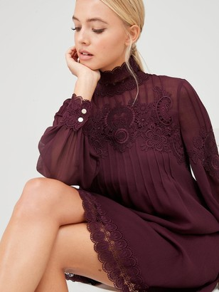 Ted Baker Anneah High Neck Lace Long Sleeve Tunic Dress - Deep Purple