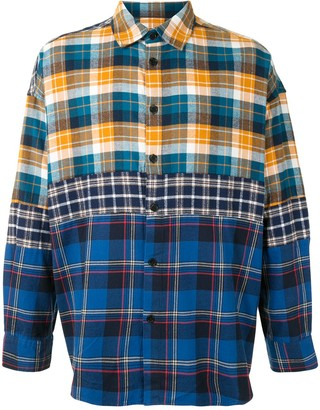 Five Cm Patchwork Plaid Cotton Shirt