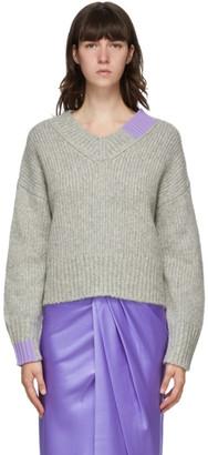 Helmut Lang Grey Camel V-Neck Sweater