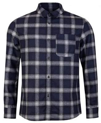 A.P.C. Treck Check Shirt Colour: DARK NAVY, Size: MEDIUM
