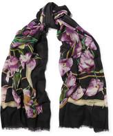 Dolce & Gabbana Floral-print Cashmere Scarf - Purple
